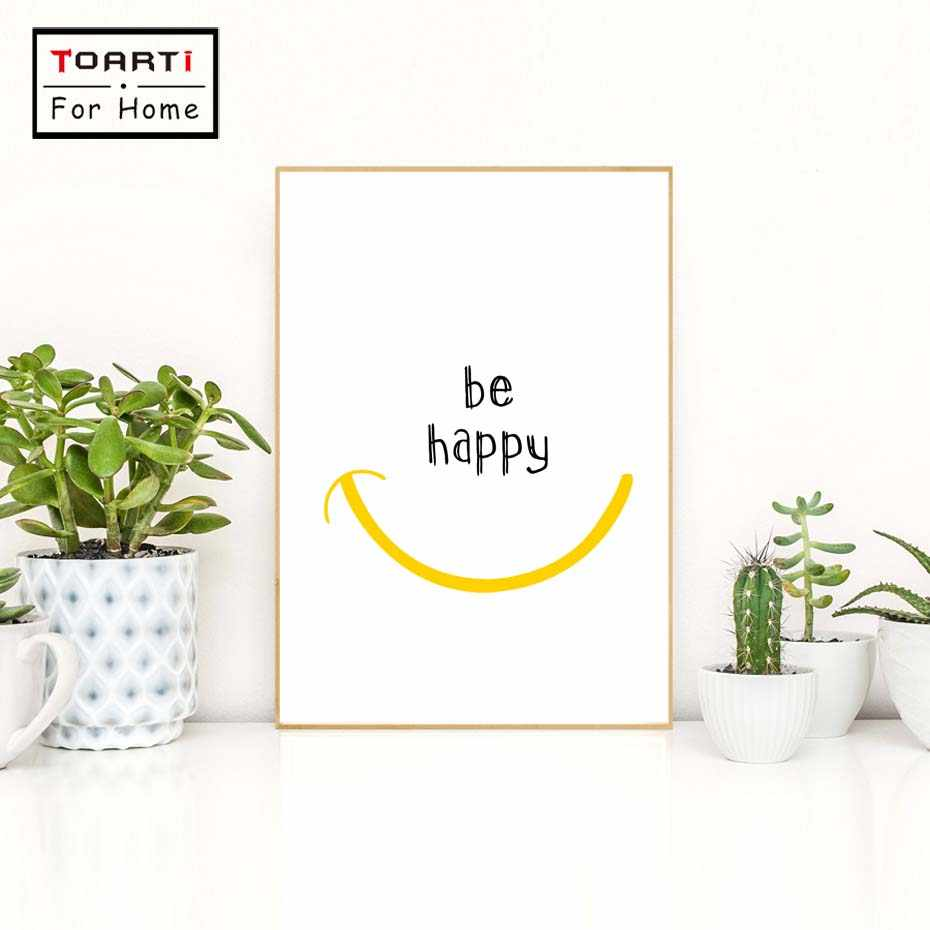 Minimalist Be Happy Quote Smiley Canvas Art Print Painting Poster Wall Pictures For Living Room Nursery Wall Decor Home Decor