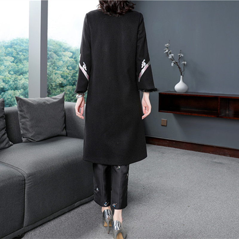 Automne Femmes Xxl Laine Hiver Survêtement Style Chinois Vintage Unique Top Long Qualité Poitrine Broderie 2018 De Marque Manteau qTwnz047