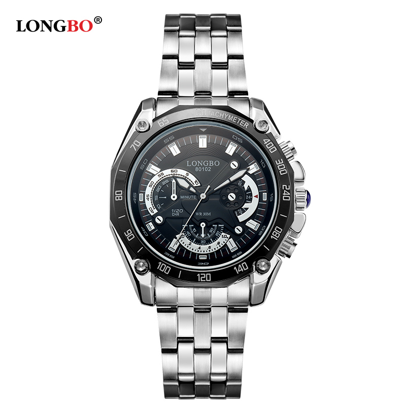 Big Dial LONGBO Brand Men Watch Men s Stainless Business Quartz Wristwatch Waterproof Sports Men Relogio