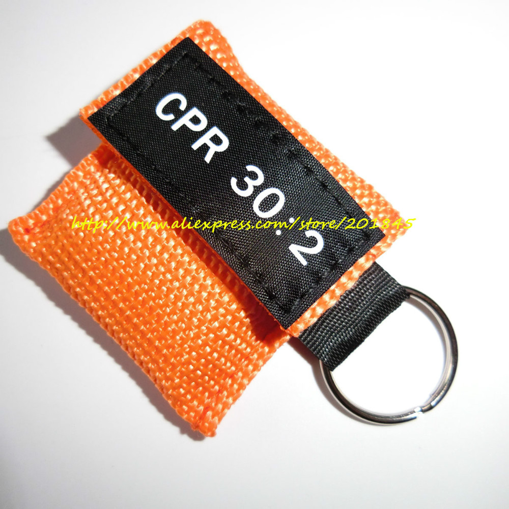 100 Pcs/Lot Cpr Mask With Keychain First Aid Cpr Resuscitator Mouth Mask Hygiene Face Shield Cpr 30:2 Orange