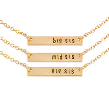 3pcs/set big sis mid sis lil sis Tag Pendant Necklace BFF Chain Simple Special Gift For Mother Daughter Family Friends Jewelry(China)