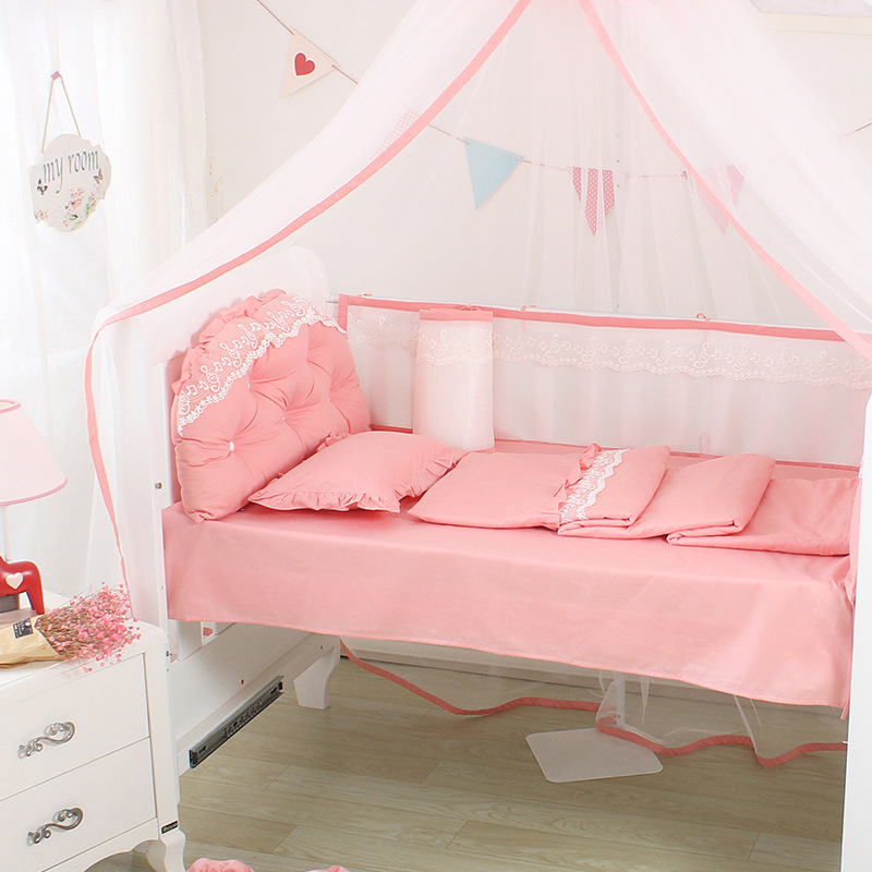 5Pcs Summer Lace Cotton Cradle Bumpers Bed Flat Sheet Cot Side Protector Surroundings Barrier For Bed Solid Color Baby Bed Decor5Pcs Summer Lace Cotton Cradle Bumpers Bed Flat Sheet Cot Side Protector Surroundings Barrier For Bed Solid Color Baby Bed Decor