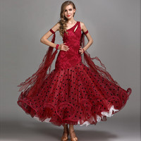 Red Ballroom Dance Competition Dresses Tandard Ballroom Dress Standard Dance Dresses Flamenco Costumes Ballroom Waltz Dress