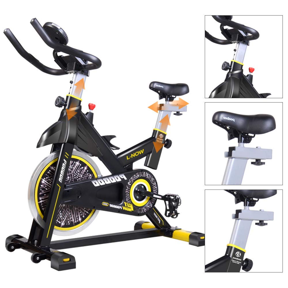 pooboo Exercise Bike 24lbs Flywheel Mute Spinning Bike Hometrainer Fitness Indoor Cycling Bike in Indoor Cycling Bikes from Sports Entertainment