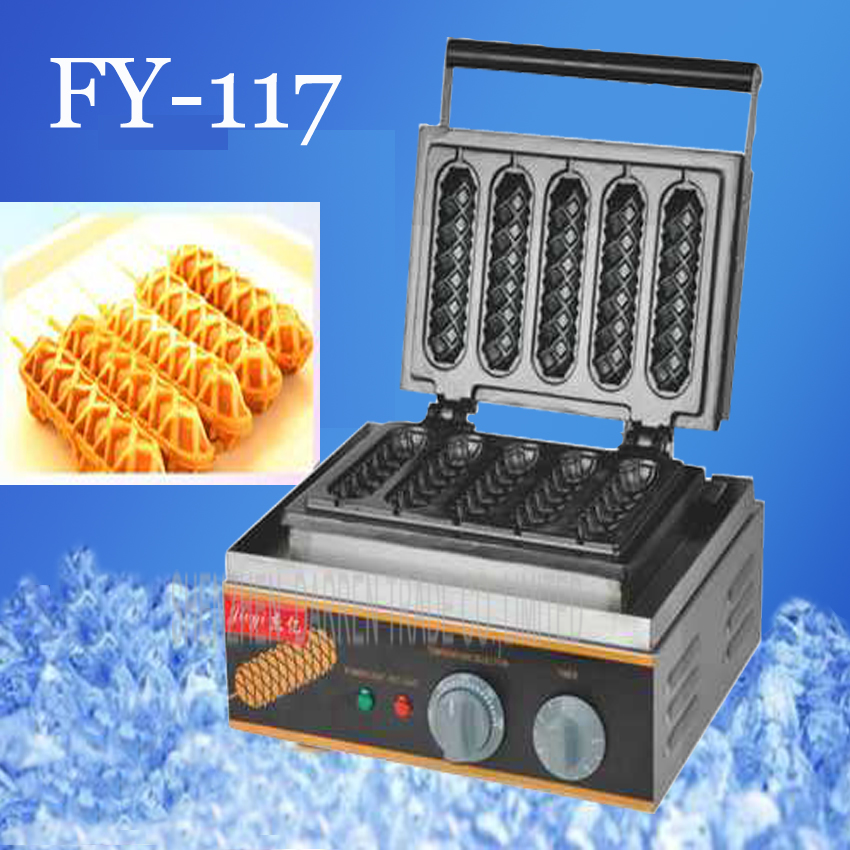 1PC Electrical Lolly Waffle Hot Dog Machine with 5 pcs Molds 110v 220v Stick Waffle Maker Great Snack Machine 220v 110v mixed type hot dog lolly waffle machine hot dog grill