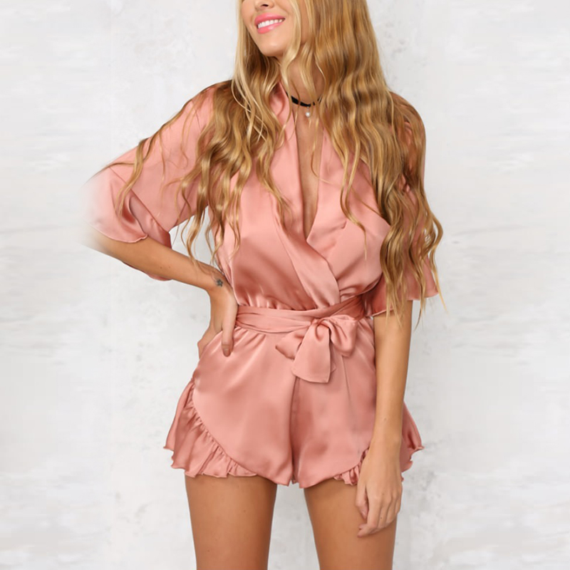 Beach Playsuit Overalls Rompers Satin Silk Pink Elegant Deep-V-Neck Casual Summer Women