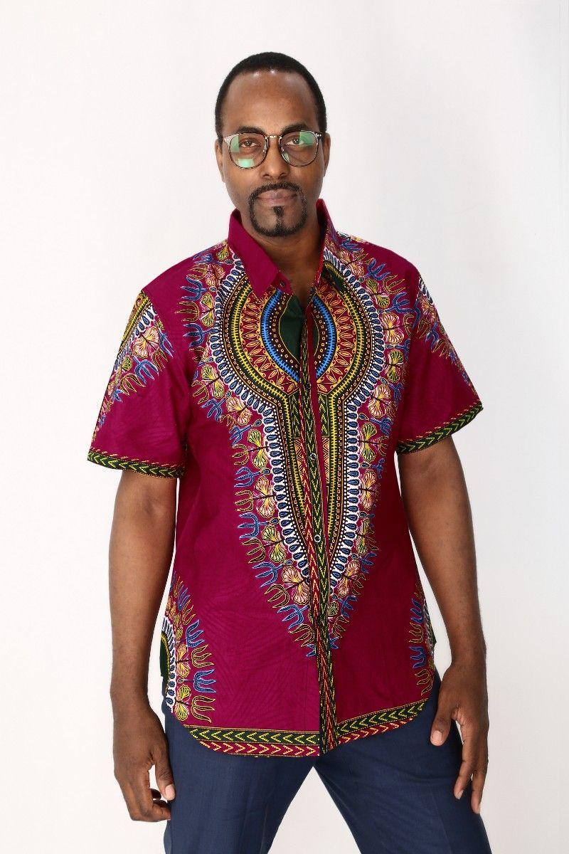 Men African Wax cloth Dashiki T shirts Mens Classic Bazin ...