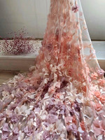 Popular 3D Flowers French Lace Fabric Party Pink Bridal Wedding Dress Lace Beautiful African Nigerian Lace Fabric 5 Yards