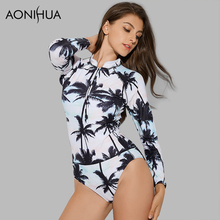 AONIHUA 2018 Vintage Beach Front zipper One-Piece Swimsuit Women coconut palm Swimwear Long sleeve Push up swimming Suit 9019