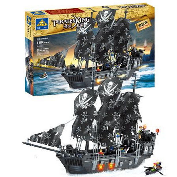 Kaizi model building kits compatible with lego ship pirates king 3D blocks Educational model building toys hobbies for children ...
