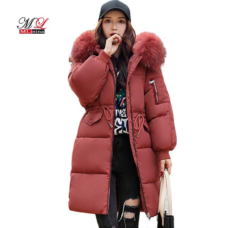 MLinina Women Winter Coat Female Long   Parka   Big Fur Collar Women's Down Jacket Solid Warm   Parkas   Plus Size 3XL Snow Wear Outwear