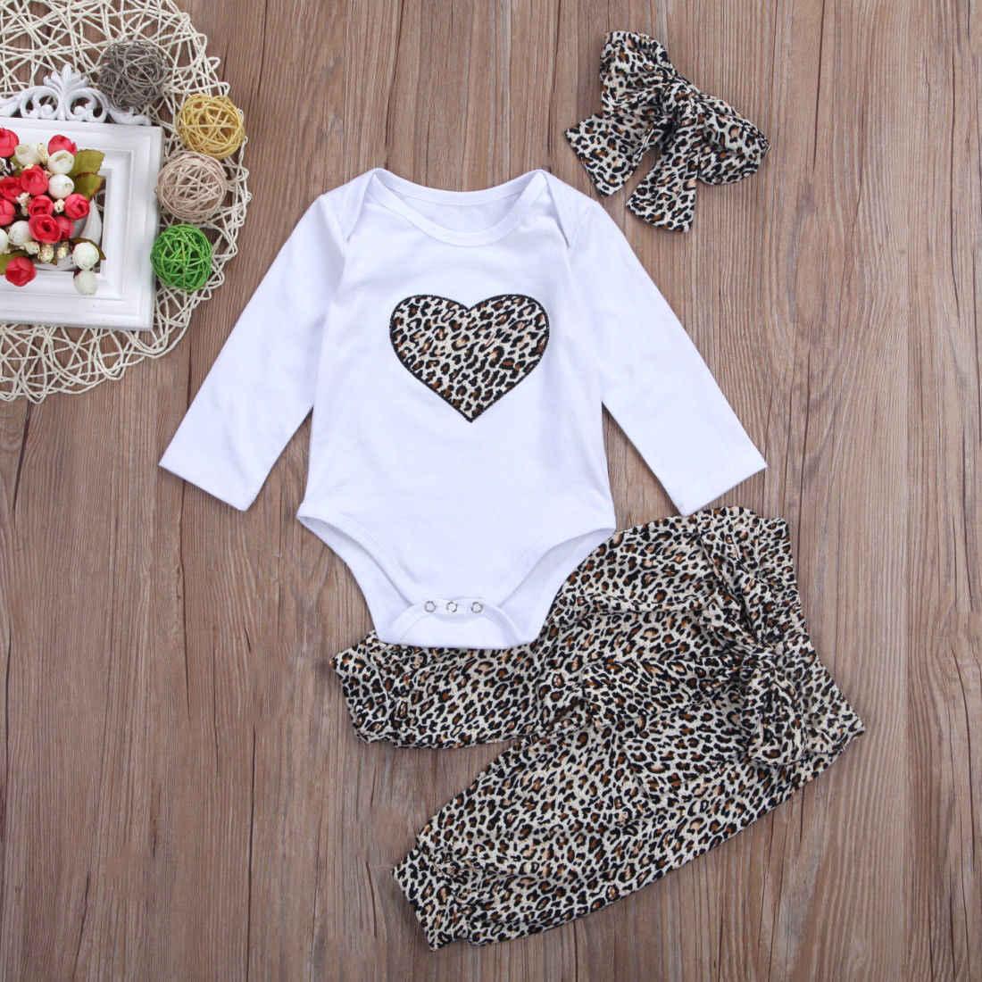 2018 חדש לגמרי יפה יילוד פעוט תינוק תינוקת Romper + ארוך פרחוני מכנסיים + סרט 3 יחידות תלבושת נמר לב בגדי סטים