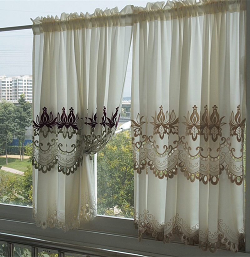 American Classical Embroidery Flower half curtain gauze