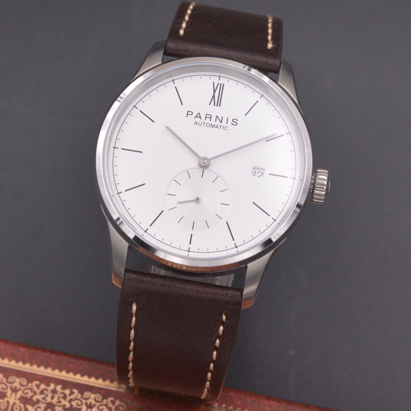 Parnis 42mm watch  white dial calendar  parnis Seagull Movement Automatic mechanical men watch  PN602 40mm parnis white dial vintage automatic movement mens watch p25