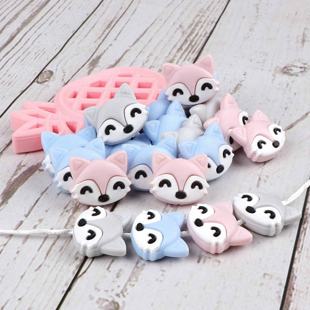 TYRY.HU 10pc BPA Free Silicone Beads Loose Cartoon Beads For Teething Chain Silicone Rodent Tiny Rod Baby Teether