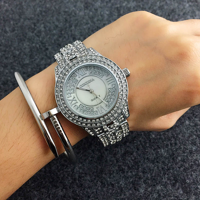 CONTENA Shiny Full Diamond Watch Luxury Rhinestone Bracelet Watch Women Watches