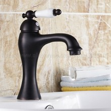 Deck Mounted Oil Rubbed Bronze Single Handle Hole Bathroom Sink Mixer Faucet Hot and Cold Water Mixer Tap znf552 стоимость