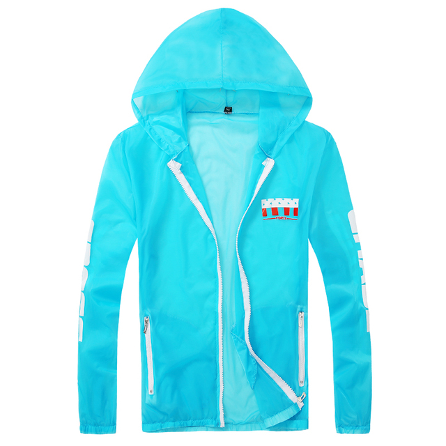 M-3XL 2016 Zipper hooded UV protection summer coats Sun Skin protect zipper casual print wears slim fit jackets MQ184