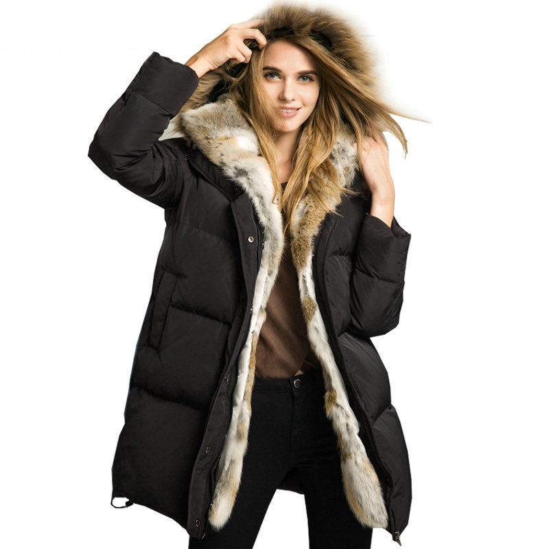 Uwback 2018 New Duck   Down   Jacket Women Thick Rabbit Hair Fur collar Hooded -40 degree   Down     Coat   Women Jackets Plus Size CBB344