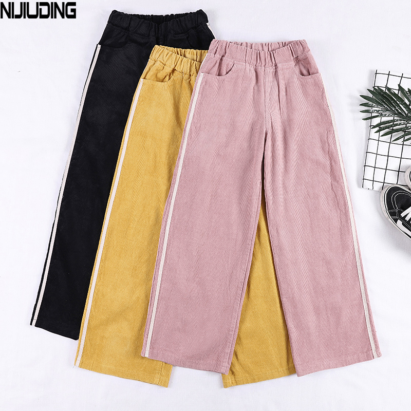 NIJIUDING Autumn Winter Women's Pants Corduroy Wide Leg Pants Thick Warm Loose High Waist 2018 Female Casual Corduroy Trousers