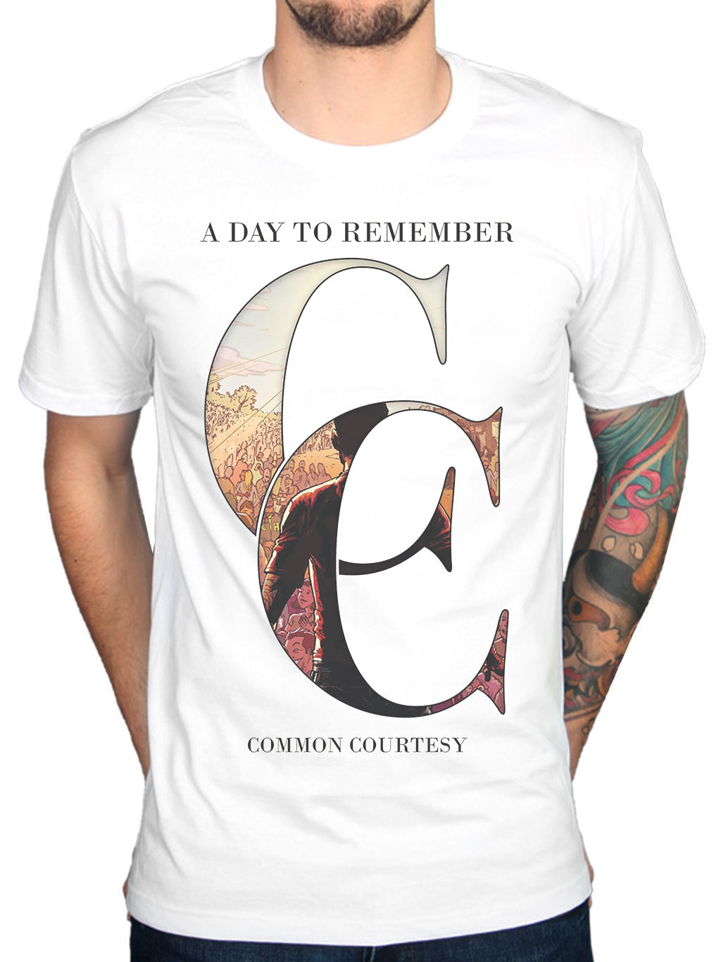 A Day To Remember Common Courtesy Mens White Cotton Top T-Shirt Tee