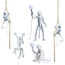 Nordic Modern Monkey LED Pendant Lights Lighting Resin Loft  Lamps Luminaires Bar Cafe Hanging Lmap Fixtures
