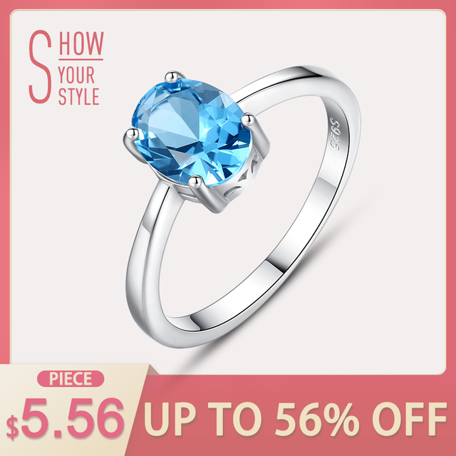 CZCITY Natural Solitaire Sky Blue Oval Topaz Stone Sterling Silver Ring For Wome