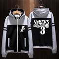 Winter Hoodie Jackets Philadelphia 76 People Star Allen Iverson Casual Unisex Coat Hooded in stock