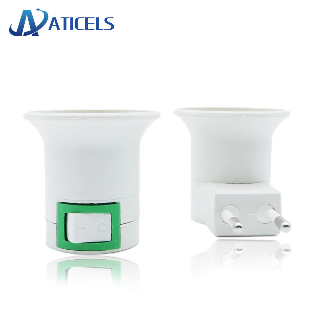 E27 Lamp Base E27 Bulb Light Wall Socket US/EU Plug With Power On/off Switch E27 Female Socket To EU Plug Adapter