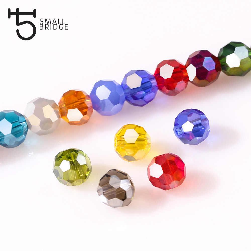 3 4 6 8 Mm Bahasa Swedia Bulat Pengatur Jarak Manik-manik Kaca untuk Diseduh Sendiri Membuat Perhiasan Aksesoris Warna-warni Kristal Manik-manik Grosir z174