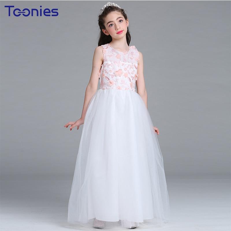 Teens Girl Graduation Ceremonies Prom Dress Bow Party Baptism Clothes Girl Pink Evening Dress Cute Kids Clothing Cotton Sundress бутылка emsa teens birdy bow 514411