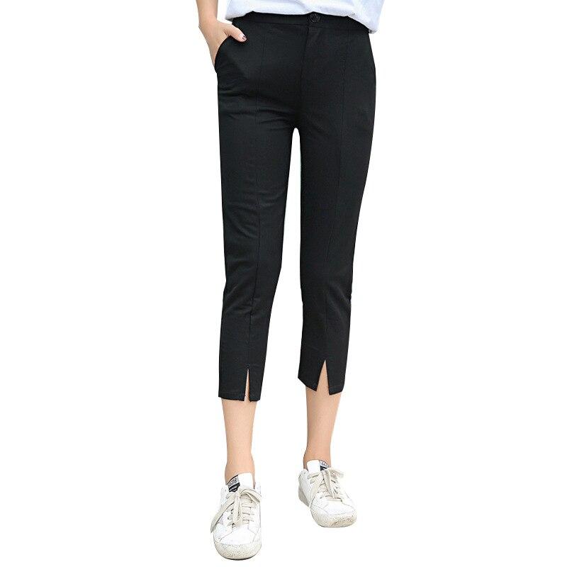 Streetwear   pants     capri   loose casual button fly   pants   women 2018 summer cotton trousers high waist   pants   bottom plus size 5xl