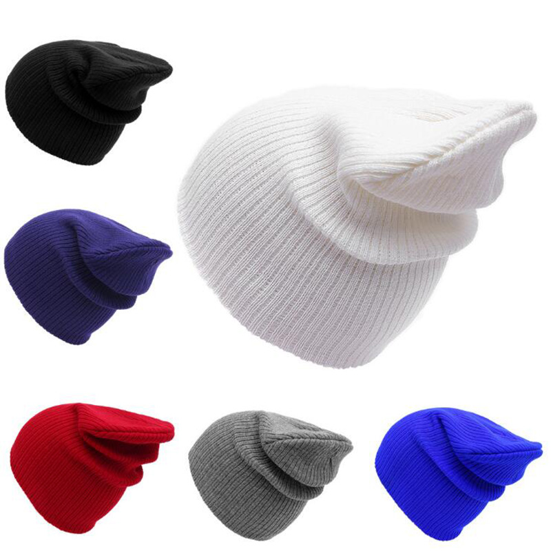 Winter Women Mens Unisex Knitted Winter Cap Casual Solid Color Beanies Hip-hop Snap Slouch Skullies Bonnet Beanie Hat Gorro [jamont] love skullies women bandanas hip hop slouch beanie hats soft stretch beanies q3353