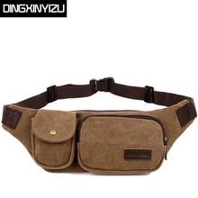 DINGXINYIZU Brand Vintage Canvas Waist Packs Multifunctional Men Belt Bag Casual Small Capacity Portable Men and Women Waist Bag