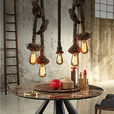 American Loft Droplight Creative Hemp Rope Pendant Light Fixtures For Dining Room Hanging Lamp Industrial Vintage Lighting american loft style hemp rope droplight edison vintage pendant light fixtures for dining room hanging lamp indoor lighting