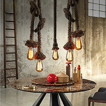 American Loft Droplight Creative Hemp Rope Pendant Light Fixtures For Dining Room Hanging Lamp Industrial Vintage Lighting
