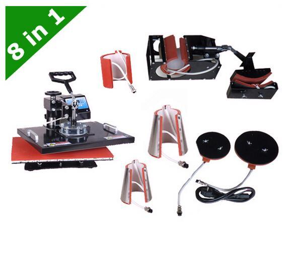 Digital Double Display Controller 8 In 1 Heat Press Machine,printer , Heat Transfer Machine For Plate/Mug/Cap/TShirt Etc