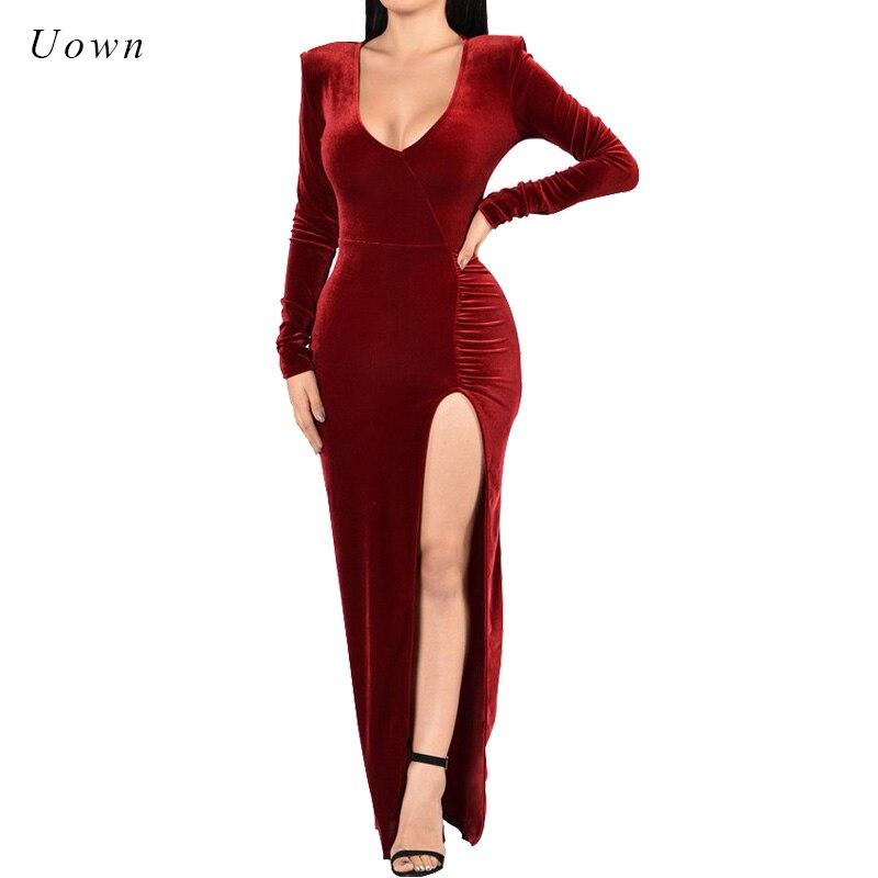 Verwonderend New Arrival Women's Solid High Split Red Velvet Dress Bodycon Long TO-59
