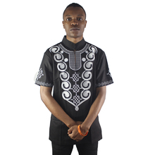 Africa Black Men`s Ethnic Culture Paisley Embroidery Tops Cotton Male Mandrin Collar Short-sleeved Casual Shirt 4 Size