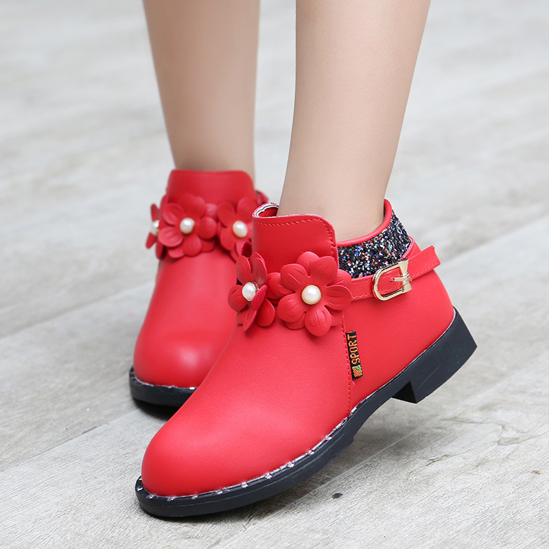 Children Winte Boots Shoes 2016 Autumn Boys Girls Leather Sports Shoes Cowhide Baby Snow Boots Fashion