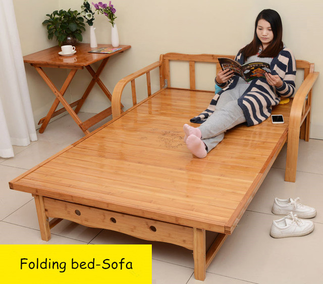 Modern Bamboo Folding Bed Chaise Sofa Couch Indoor Bedroom Furniture Loft Single Guest Bed Outdoor Portable Sleeping Lounger