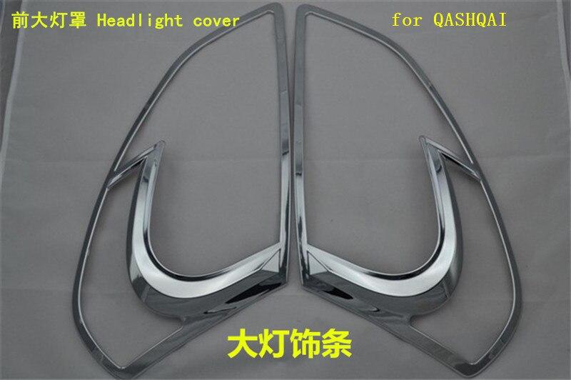 Haute qualité ABS Chrome avant phare lampe couvercle arrière phare lampe couverture pour Nissan QASHQAI 2007-2013 voiture style - 4