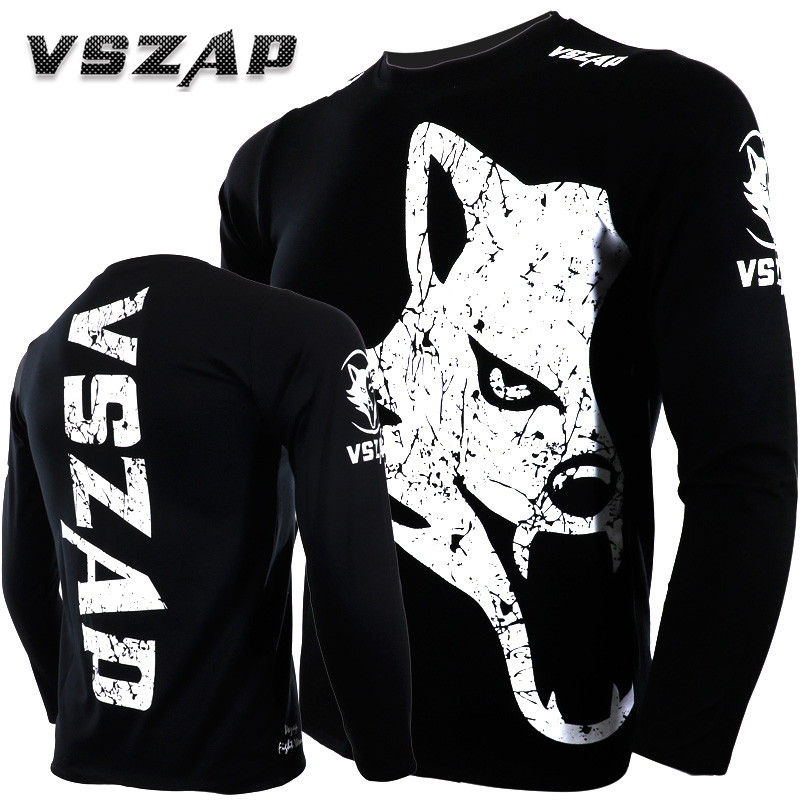 VSZAP Fitness MMA Shirts Bodybuilding Boxing Long Sleeve Running Sweatshirt Muay Thai T Shirt Men Homme Outdoor Jersey