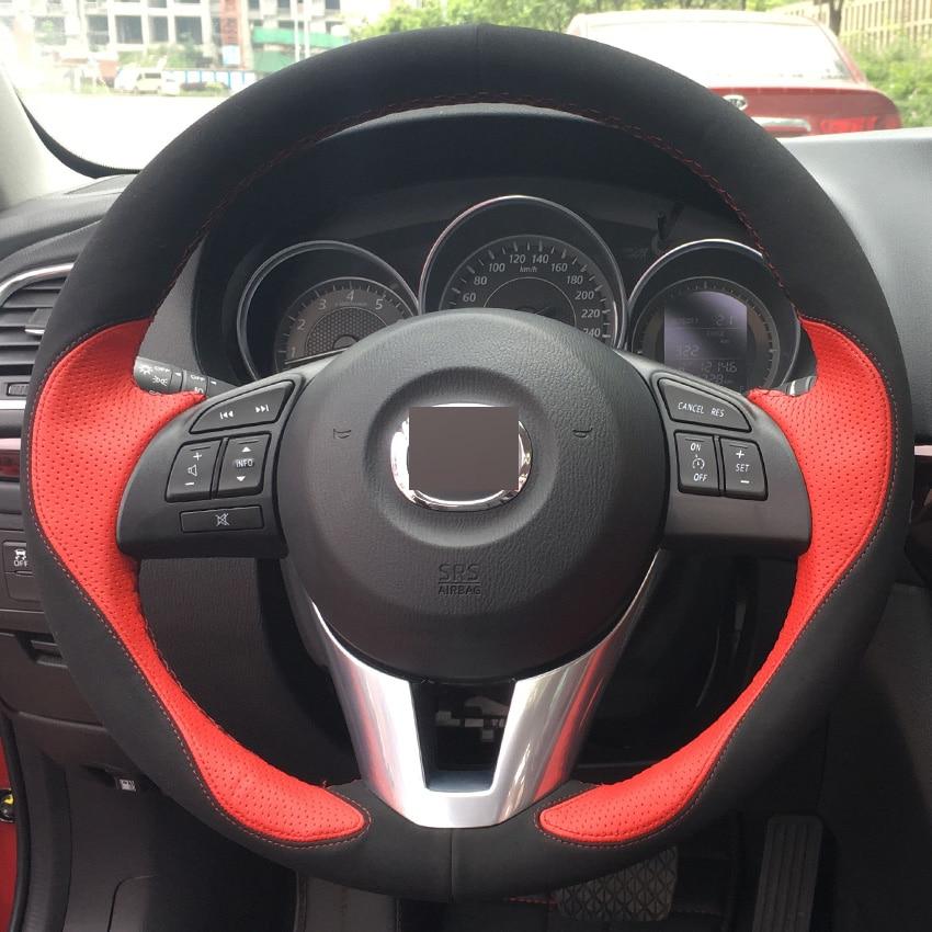 New Red Leather Black Suede DIY Hand-stitched Car Steering Wheel Cover for Mazda CX-5 CX5 Atenza 2014 New Mazda 3 CX-3 2016 Scio