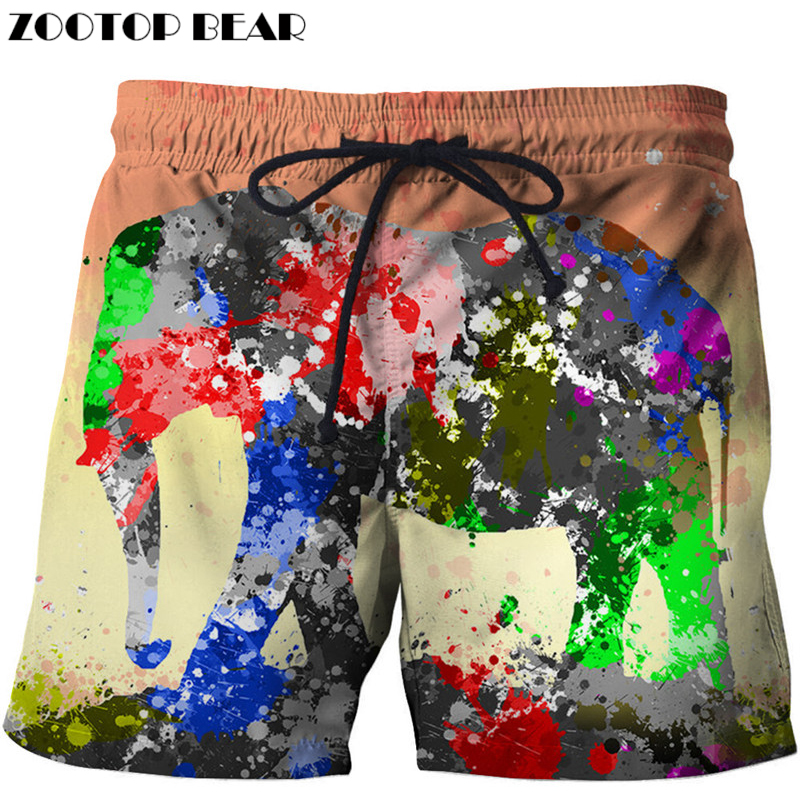 Animal Men Shorts Oil Painting Elephant 3D Print Casual Cool Summer Men Elastic Waist Beach Male Fitness Shorts ZOOTOP BEAR
