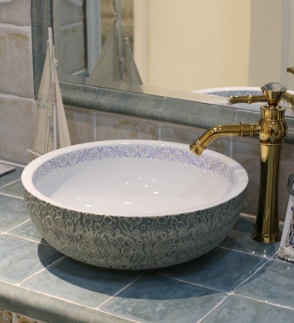 Lovely Europe Vintage Style Art Porcelain Countertop Basin Sink Handmade Ceramic  Bathroom Vessel Sinks Vanities Bowl Wash