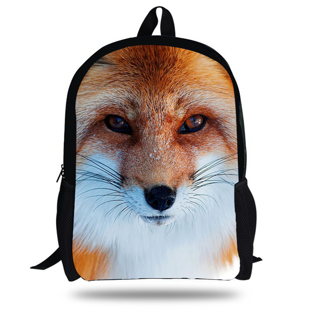 2a7ca3165581 16-Inch Kids Animal Backpack Fox Print Backpacks For School Boys Girls Fox  Pattern Bag