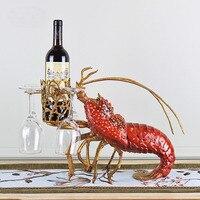Роскошный керамики красные, синие Омары винный шкаф лучший держатель бутылки вина животного Медь богиня винный стеллаж аксессуары для дома