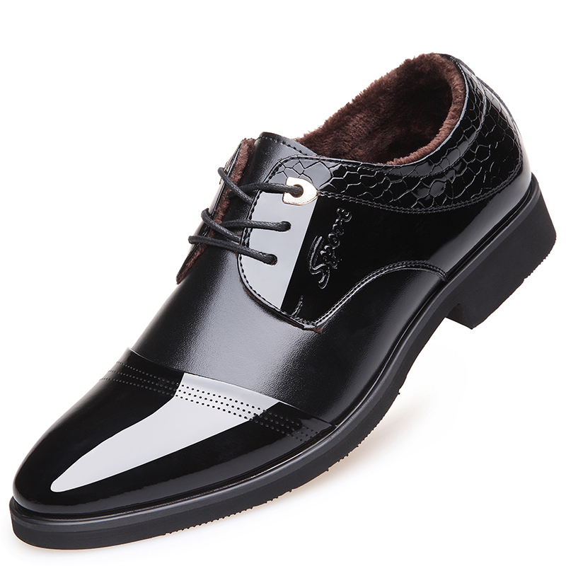 Muhuisen Autumn Winter Men Dress Shoes Fashion Keep Warm Plush Business Shoes Leather Lace Up Formal Shoes With Fur