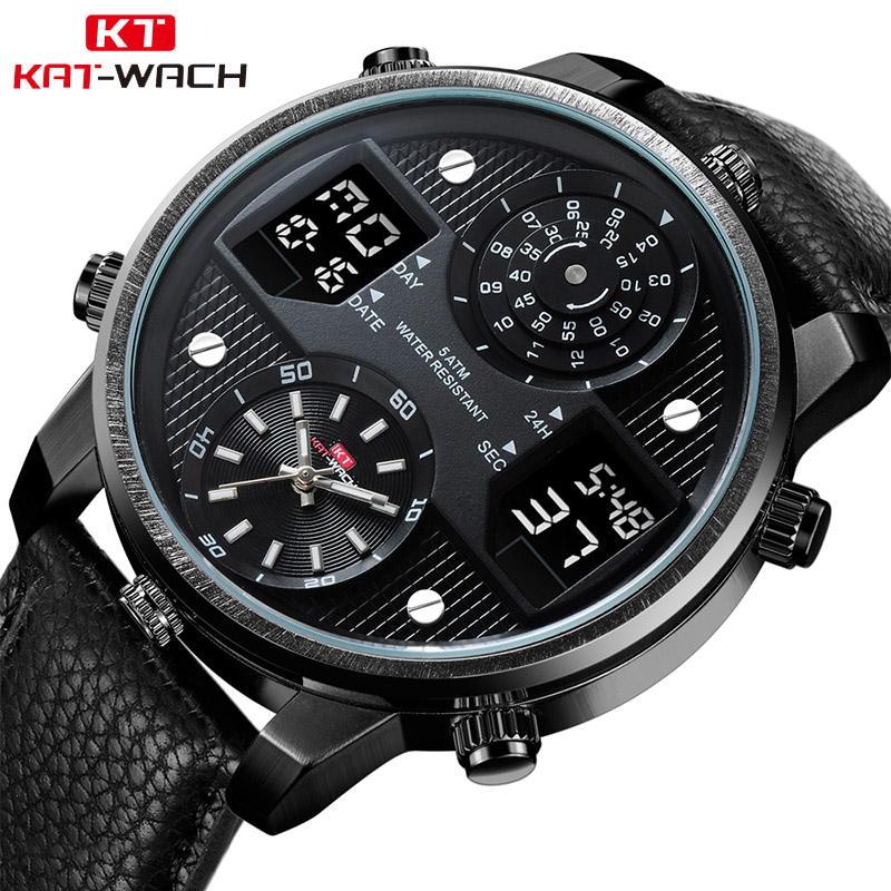 KAT-WACH men's business watches Chronograph Analog Quartz Watch Date Luminous Hands Waterproof Silicone Rubber Strap Wristwatch